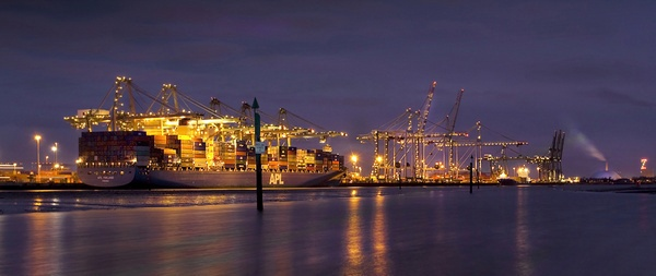 Docks At Night by Sloman