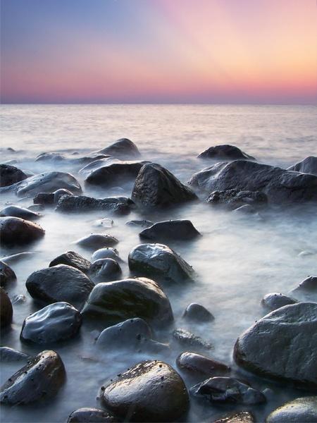 sunset sea by HuHuLin