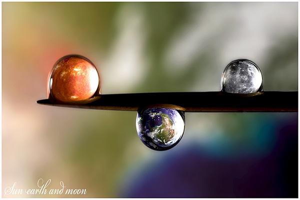 sun earth and moon in water drops by DanielDCP