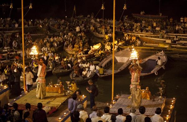 India. Varanasi. Puja at the Ghats by GrahamBaines