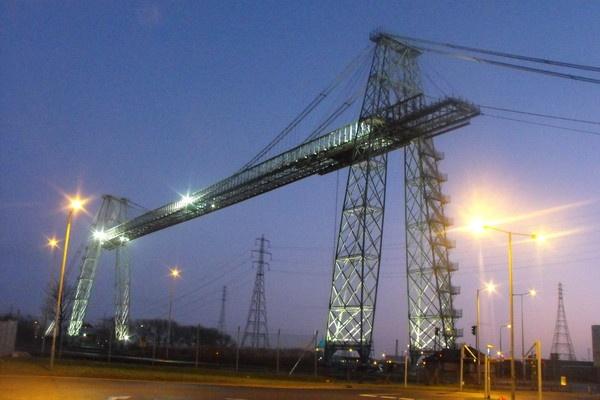 transporter bridge at night by jones21