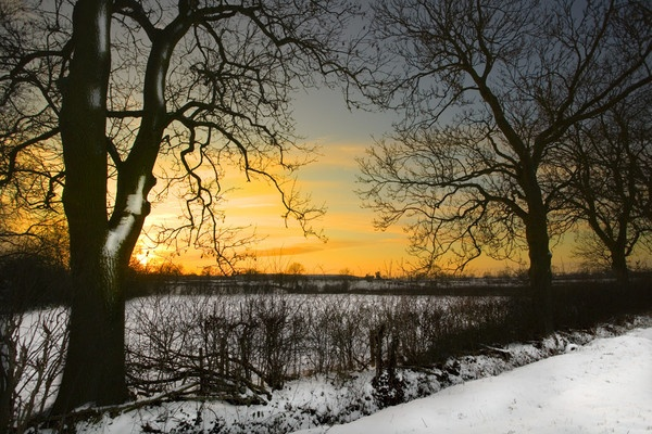winter sunset by sheamist