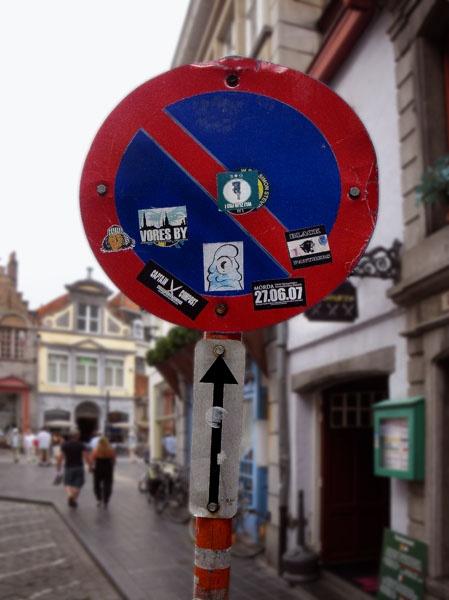 Graffitized Sign Post by kombizz