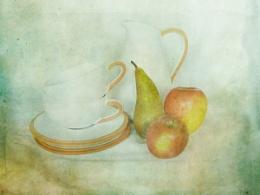 crockery and fruit