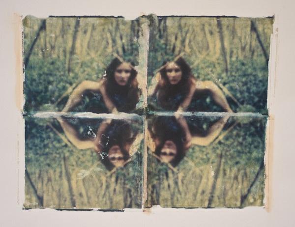 Pinhole self portrait as a polaroid transfer. by hannapple