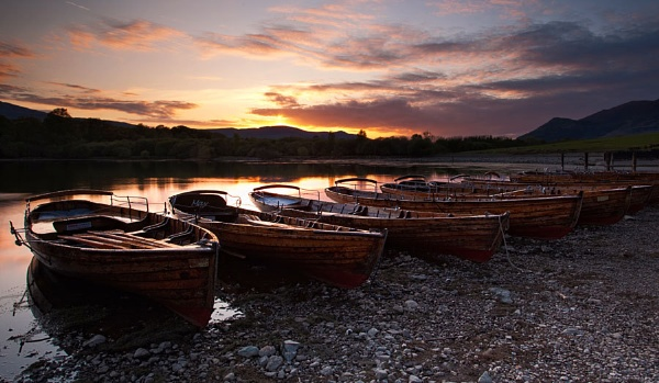 Keswick boats sunset by treblecel