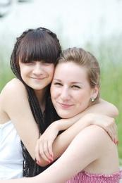 Portrait of two girlfriends