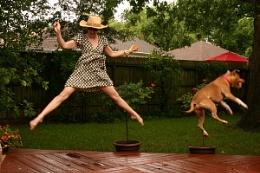 self portrait - rainy morning jump with Bailey