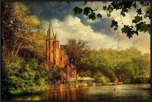Minnewaterparc and castle-Bruges. by Cor