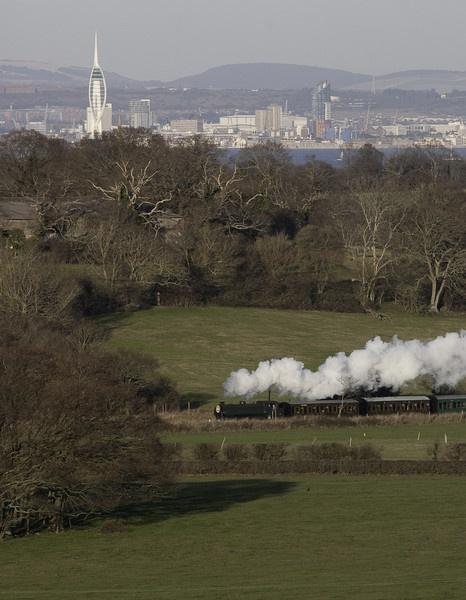 Isle of Wight Steam Railway and Spinnaker Tower by Ian Pratt
