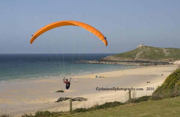 Hang glider over Saint Ives, Cornwall. by JohnI