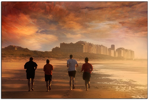 Runners on the beach. by Cor