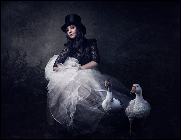 girl with geese by kitsch