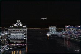 A plane, a boat, no trains (Neon Study)