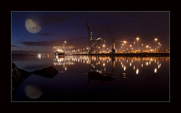 southampton docks at night by Sloman