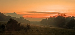 Hamshire Sunset over Minley Farm