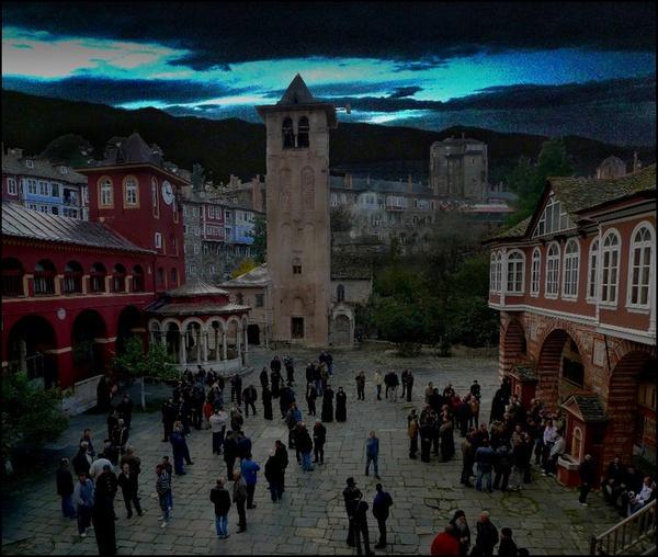 Mount Athos, the Monastary square on Mount Athos. by WimdeVos