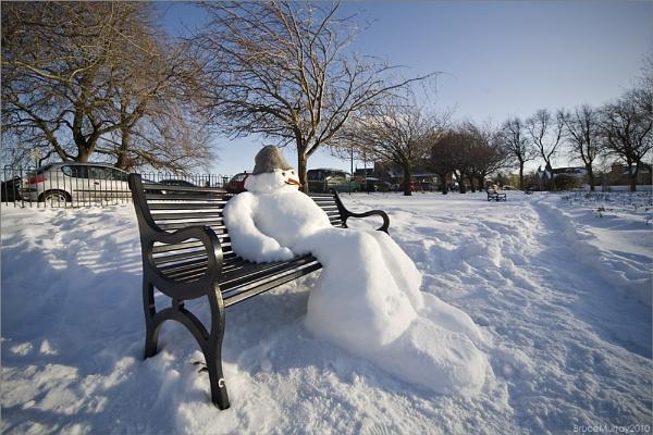 Sunbathing Snowman by Brewster