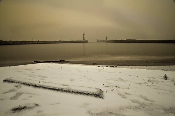 Snow in Whitby Harbour by guyfromnorfolk