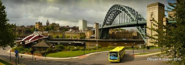 Tyne Bridges and City Bus by brq