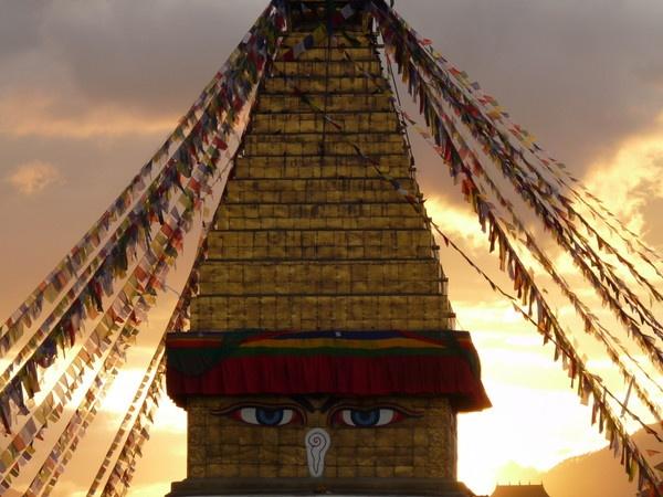 Boudhanath stupa at sunset