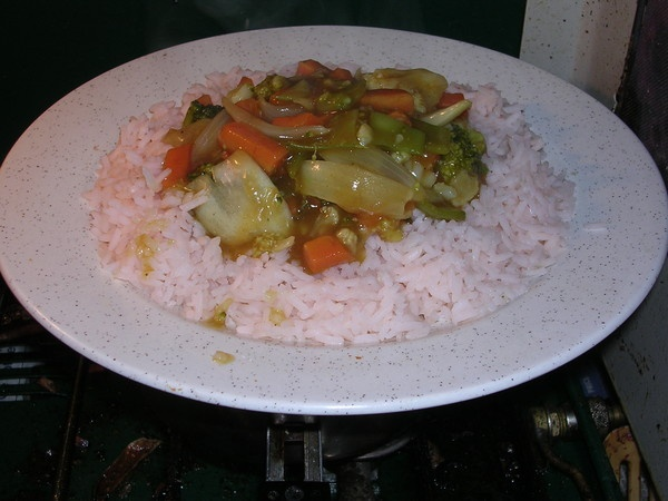 Vegetables in curry sauce, with pink rice by cageymac
