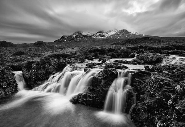 Cuillin waterfall mono by treblecel