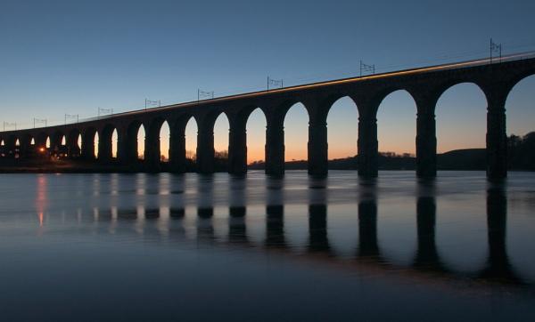 Royal Border Bridge - light trails by MelanieB