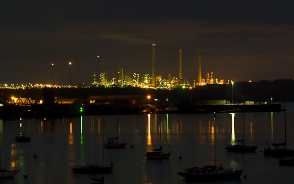 Refinery at night by royd63uk