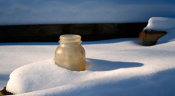 Mason Jar in Snow by taggart