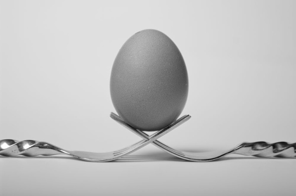 Egg and forks by Pete