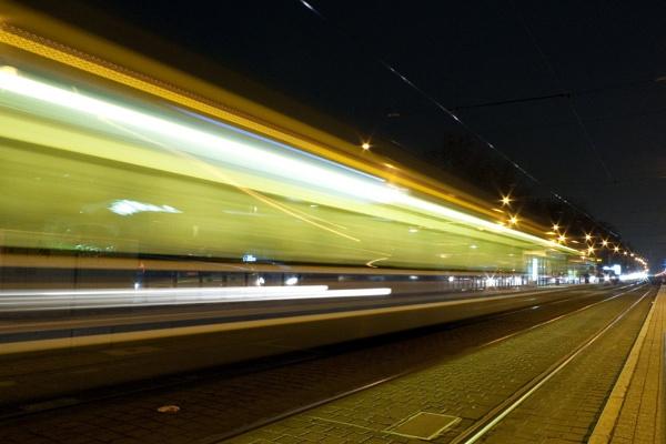 Tram Departing by MikeJG