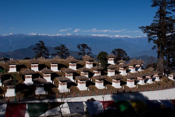 Stupas on Dochula pass in Thimphu, Bhutan by Lakeyw