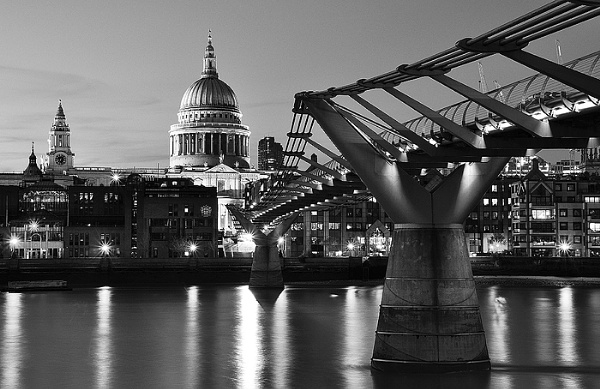 St. Paul\'s Cathedral & Millennium Bridge in London by arpad