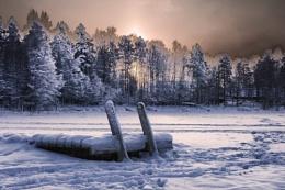 December Sunset over Lake Palokka (HDR)