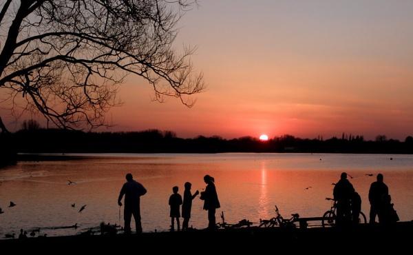 Sundown by the Lake. by hughsey