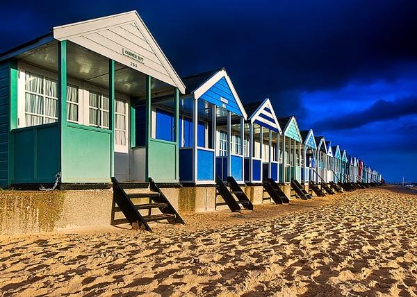 Southwold Beach Huts at Dawn by pdsdigital