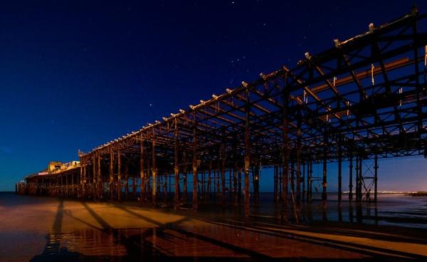 Hastings Pier by Night by randomrubble