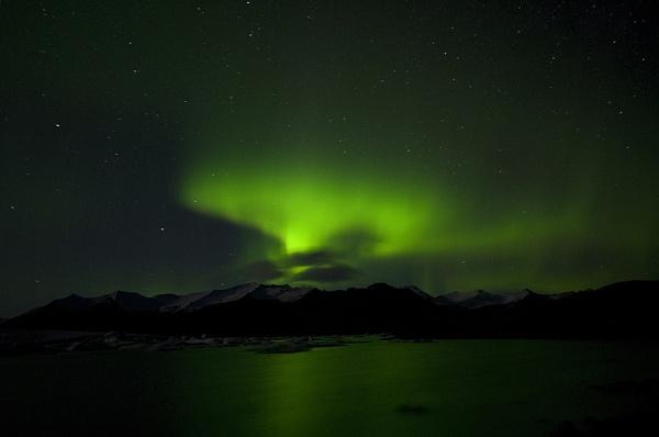 Northern Lights Over Jökulsárlón Glacial Lagoon, Iceland by zcbts28