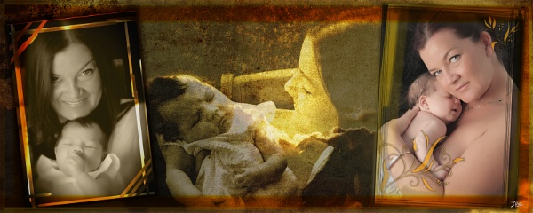 Mother and Baby Triptych by Grimbandanjo