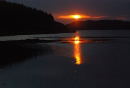 sunset over bunessan bay isle of mull