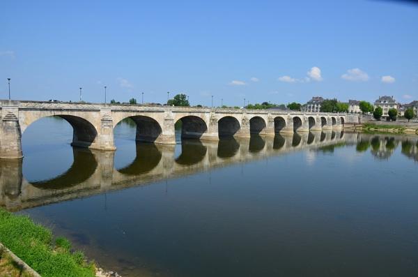 Bridge(Pont Cessart) over the river Loire, Saumur, France, by bighorse