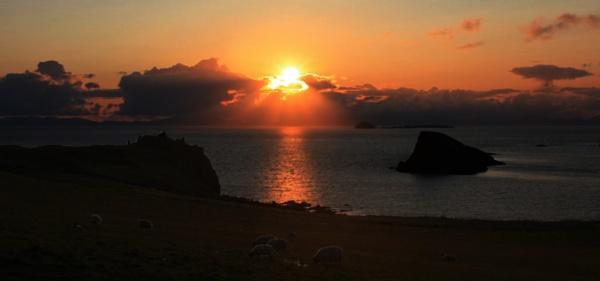 Sunset over Duntulm Castle by skyeman