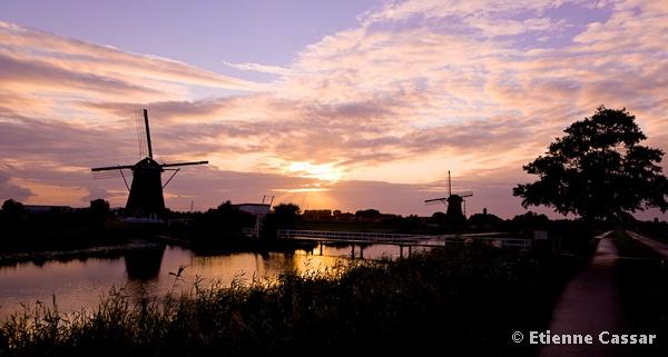 Sunset at Kinderdijk by ecassar