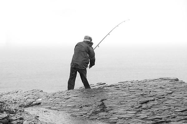 fishing in the rain by JOHNu