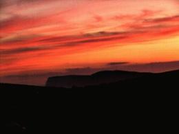 Sunset over Freshwater cliffs