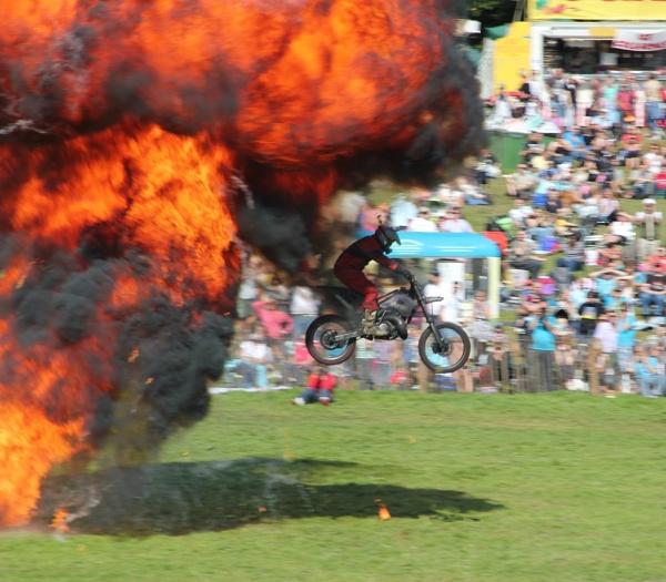 Stunt man exiting fire ball. by Steve2rhino