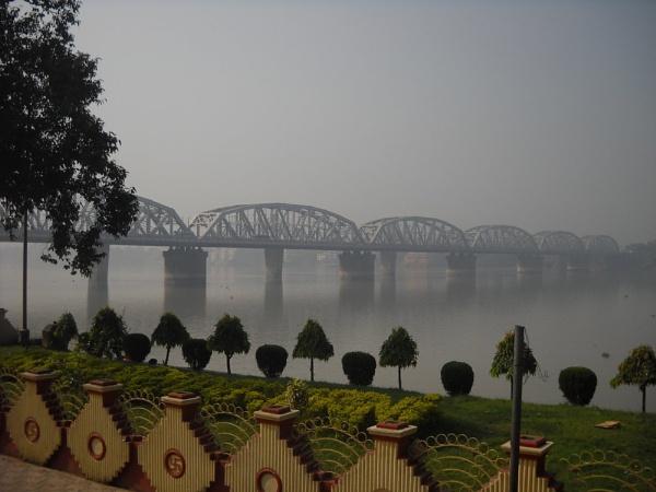 The bridge on the river Ganga. by BHUBAN