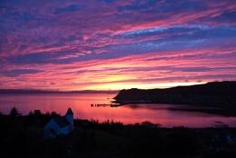 Sunset over Uig bay, Skye.