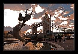 Dophin, girl & Tower Bridge